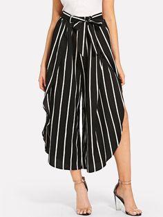 Ruffle Trim Pinstripe Wide Leg Pants -SheIn(Sheinside) Wrap Pants, Ruffle Trim, Summer Looks, Wide Leg Pants, Midi Skirt, Street Style, Fashion Outfits, Skirts, How To Wear