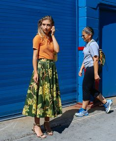 Jenny Walton in a vintage top and skirt and J.Crew shoes, Phil Oh during LFW RTW Spring 2016