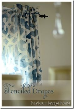 How to Turn a Tablecloth into a Rod Pocket Curtain Diy Arts And Crafts, Decor Crafts, Home Crafts, Stenciled Curtains, Diy Curtains, Home Decor Items, Diy Home Decor, Dining Room Curtains, Dining Rooms