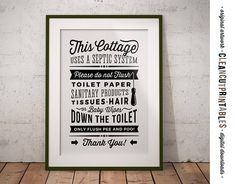 PLEASE NOTE: This is a DIGITAL DOWNLOAD file, no physical items will be sent to you, the framed picture is an example for presentation purposes. Bathroom signs are available in a growing number of different text-versions. You can view them all and find the one you like best here: