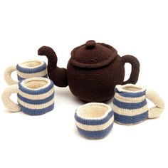 Cornishware Knitted Tea Set.  Miles beyond awesome!