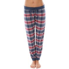 P.J. Salvage The Great Outdoors Plaid Banded Pant ($41) ❤ liked on Polyvore featuring pants, black, cotton pants, plaid trousers, tartan trousers, tartan plaid pants and black trousers
