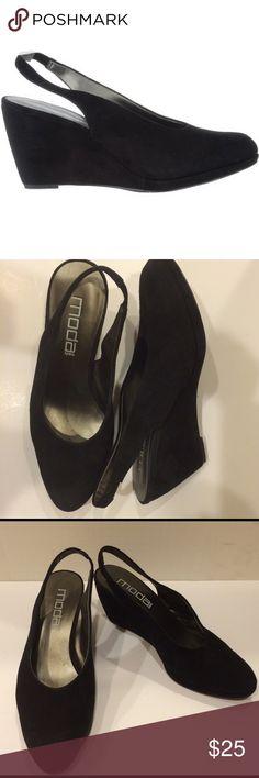 MODA SPANA WEDGE SLING BACK PUMPS Moda Spana suede wedge sling back pumps. moda Shoes Wedges