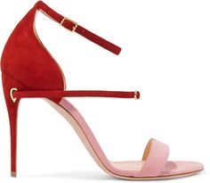 Pink and red 'Roland' two-tone suede sandals Red High Heels, Suede Sandals, Women's Sandals, Designer Sandals, Sneaker Boots, Me Too Shoes, Women's Shoes, Fashion Shoes, Women's Fashion