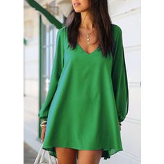 Split Sleeve V Neck Green Shift Dress