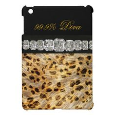 New! Personalize this elegant & stylish gift idea! 99.9% #Diva #Leopard Print, #Diamonds #iPad #Mini #Case