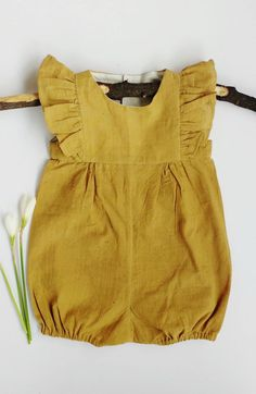 Handmade Naturally Dyed Cotton Baby Romper | Essikakids on Etsy