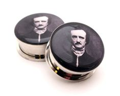 Edgar Allan Poe Picture Plugs gauges  8g by mysticmetalsorganics, $17.99 ohhhhhh my gosh I want this so bad