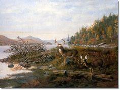 Arthur Fitzwilliam Tait - Adirondacks - Longlake View with Deer Painting