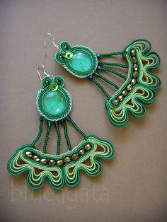 green & gold flamenco soutache earrings with cabochon