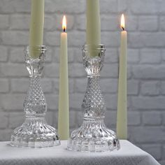 Pressed Glass Candlestick - available from @theweddingomd The Wedding of my Dreams