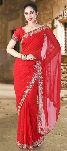130205, Party Wear Sarees, Embroidered Sarees, Faux Georgette, Stone, Patch, Zari, Border, Thread, Bugle Beads, Machine Embroidery, Sequence, Resham, Floral, Red and Maroon Color Family