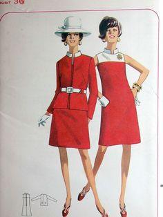 """Cartamodelli abito modello No 4583 UNCUT Vintage anni ' 60 dimensioni 16 Busto 36 """"giogo di contrasto senza maniche collo alla coreana cerniera posteriore e giacca di CaliforniaSunset su Etsy https://www.etsy.com/it/listing/127906517/cartamodelli-abito-modello-no-4583-uncut"""