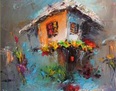 Couteau à palette moderne paysage peinture ancienne maison huile, peinture sur toile paysage paysage peinture Impasto bleu gris maison décoration murale