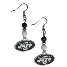 New York Jets Fan Bead Dangle Earrings