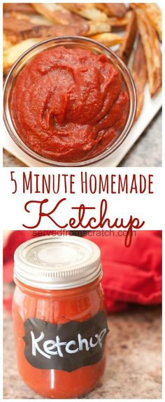 Homemade Ketchup made in just 5 minutes! Clean version: sub maple syrup for sugar.