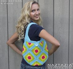 Crochet Granny Square and Half Granny Triangle Handbag Tote Purse - Bag by Donna Wolfe from Naztazia