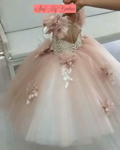 Yours to treasure, this couture gown makes a sweet statement for birthdays and bat mitzvah events. Hand-finished to perfection, this is no ordinary evening dres Baby In Wedding Dress, Baby Girl Birthday Dress, Baby Gown, Birthday Dresses, Little Girl Dresses, Wedding Dress Patterns, Girl Dress Patterns, Wedding Dress Trends, Wedding Dresses