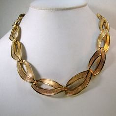 MONET Signed Gold Link Necklace Shiny by VintageStarrBeads