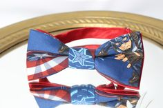 Novelty BOWTIE Captain America /  Unisex Bow Tie / Patriotic / Comic Superhero by AsherTailored on Etsy