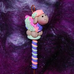 Multi Colored Sheep Spinning Wheel Orifice Hook by TheClaySheep