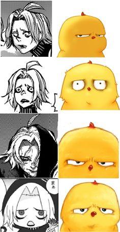 "Guys, it's just me or what, but the bird ""Warbie"" make me think of Takizawa Seidou whenever I see him. Tokyo Ghoul Manga, Wildest Fantasy, Scary Art, Anime Sketch, Manga Characters, Kaneki, Akira, Fanart, Webtoon"