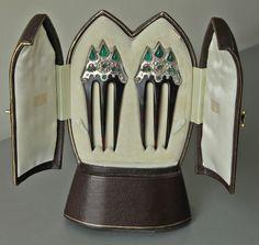 Peignes d'ornement - Argent, écaille de tortue, Calcédoine et Diamants - Arts and Crafts - 1900
