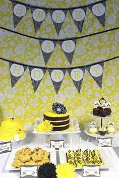 Mommy to Bee. Decorate in yellow and black with plenty of bees and honey.