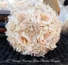 ROSE GOLD Brooch Bouquet-....♥♥.... DEPOSIT for by Elegantweddingdecor