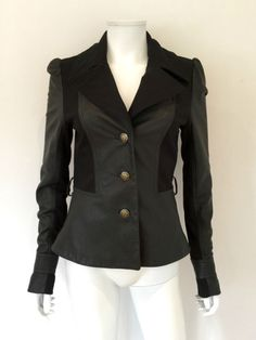 Alice by Temperley Black Panelled Leather Jacket / Black / 8 UK / RRP: £1,095.00