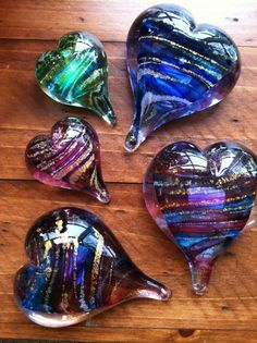 Beautiful Heart Shaped Glass Paperweights ... JW Graham/YES! Gallery in Wickford, Rhode Island