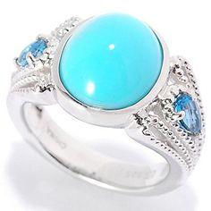 Gem Insider™ Sterling Silver 12 x 10mm Sleeping Beauty Turquoise & Blue Topaz Ring