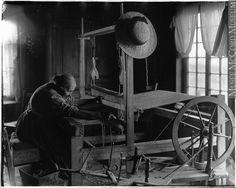 weaving homespun cloth | Cap à l'Aigle, Québec, Canada | 1898 | Wm. Notman & Son: photographer
