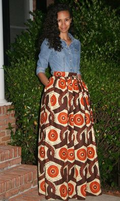 African Print Maxi Skirt with pockets by MelangeMode on Etsy ~Latest African Fashion African Inspired Fashion, African Print Fashion, Fashion Prints, African Prints, Ankara Fashion, African Fabric, African Attire, African Wear, African Dress