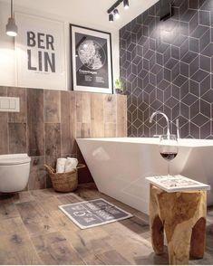 35 Stunning Modern Farmhouse Bathroom Decor Ideas Make You Relax In 2019 - Googodecor Bathroom Tile Designs, Bathroom Floor Tiles, Bathroom Wall Decor, Bathroom Interior, Master Bathroom, Bathroom Ideas, Bathroom Black, Tile Floor, Bathtub Decor