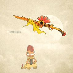WEBSTA @ rebusalpa - Pokeapon No. 560 - Scrafty. #pokemon #scrafty #gunblade…