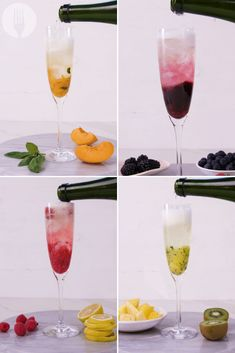 Some fruits, herbs and champagne are all you need to jazz up your cocktail game. These are super refreshing and are perfect for your dinner party this weekend! Pineapple Vodka, Peach Vodka, Citrus Vodka, Raspberry Vodka, Champagne Cocktail, Champagne Flutes, Fresh Mint Leaves, Christmas Cocktails, Mixed Berries