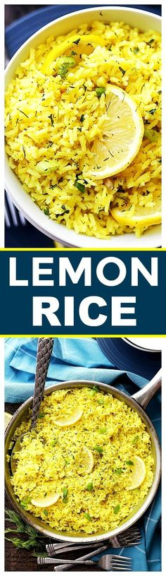 Lemon Rice Recipe - Bursting with lemon flavor, this is a ARROZ AL LIMÓN delicious way to turn plain rice into an exotic dish, and it's the perfect accompaniment to any meats and/or veggies. Easy Rice Recipes, Lemon Recipes, Greek Recipes, Side Dish Recipes, Indian Food Recipes, Vegetarian Recipes, Dinner Recipes, Cooking Recipes, Healthy Recipes