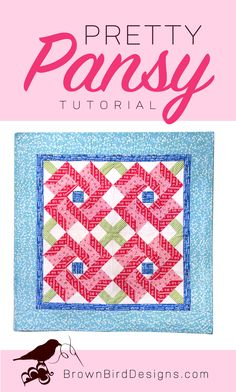 The Pretty Pansy Quilted Wall Hanging was made for the Simply Happy blog tour using the Simply Happy fabric line from Riley Blake Designs. A tutorial is featured here to create this project yourself. Quilting Tutorials, Quilting Projects, Quilting Designs, Sewing Projects, Diy Projects, Cute Quilts, Small Quilts, Mini Quilts, Jellyroll Quilts