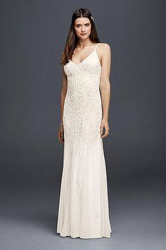 All-Over Beaded Sheath Dress with Godet Skirt 061916730