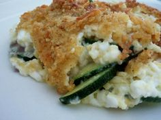 Zucchini/Cottage Cheese Casserole (Substitute quinoa for rice. No need for breadcrumbs or butter)