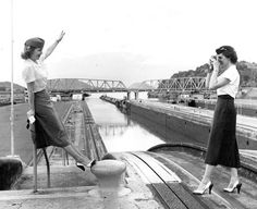 Pan Am stewardesses at the Panama Canal, 1955.