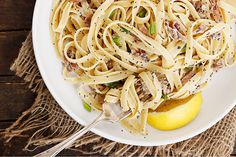 Quick and easy, this Poppy Seed Prosciutto and Lemon Pasta uses buttermilk, for great creamy flavour without the calories! Risotto Recipes, Easy Pasta Recipes, Noodle Recipes, Best Pork Loin Recipe, Lemon Curd Pavlova, Perfect Pasta Recipe, Creamy Mustard Sauce, Italian Pasta Dishes, Lemon Pasta