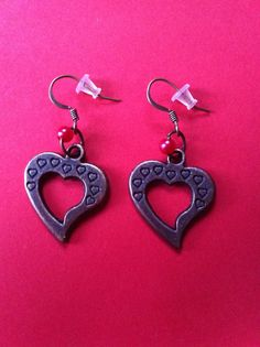 Copper Heart Earrings with Red Bead.  Length 4cm.  #MoggysMall, #Etsy, #Heart, #Earrings, #copper, #red, #bead  https://www.etsy.com/shop/MoggysMall