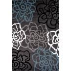 "World Rug Gallery Contemporary Modern Floral Flowers Dark Gray 5 ft. 3 in. x 7 ft. 3 in. Indoor Area Rug - 108 D.Gray 5'3""X7'3"" - The Home Depot"