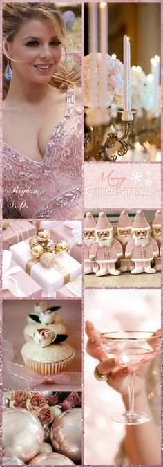 '' Christmas ~ Pink'' by Reyhan S.D Christmas Collage, Christmas Mood, French Christmas, Christmas And New Year, Pink Christmas Decorations, Christmas Ornaments To Make, Christmas Colour Schemes, Christmas Colors, Shabby Chic