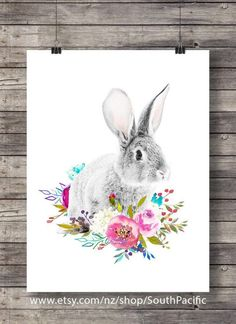 Watercolor Rabbit with flower garland crown | flower crown | printable rabbit roses art | digital print | white rabbit art print  16x20 print, easily resized to 8x10 and fine to print at A3 or A4. MADE WITH LOVE ♥  ____________________________  Print as many times as you like, fine for personal and small commercial use.  -------------------------------------------------------------------------------------- After payment is confirmed you will be taken to the download page, and an email will…