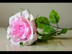 How to make a paper rose - Easy crepe paper flower tutorial - YouTube