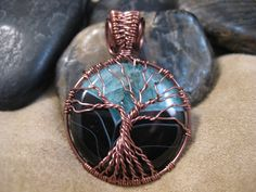 Tree of Life wire wrapped pendant with teal by beadeddragondesigns, $40.00