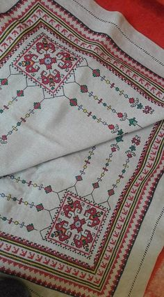 This Pin was discovered by Nil Cross Stitching, Cross Stitch Embroidery, Embroidery Patterns, Stitch Patterns, Cross Stitch Geometric, Palestinian Embroidery, Art N Craft, Bargello, Luxury Interior Design